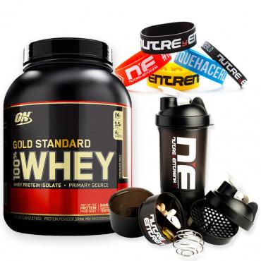 Pack Gold Standar 5 lbs + Shaker Nutre y Entrena Negro + Pulsera